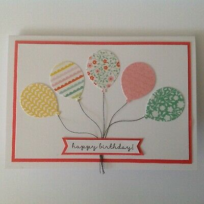 Handmade Birthday card: Patchwork balloons with watermelon.