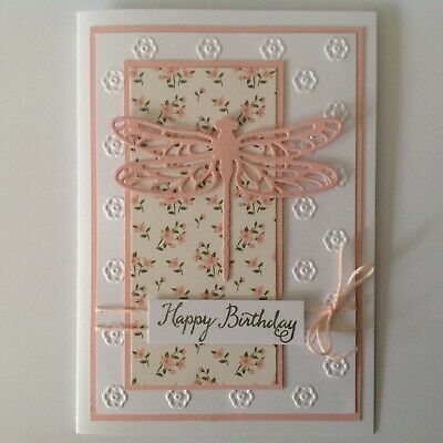 Handmade Birthday card: Dragonfly with pink.