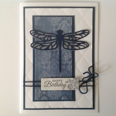 Handmade Birthday card: Dragonfly with navy blue.