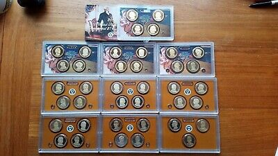 2007-2016 Complete Proof Presidential Dollar Collection~39 Coins/U.S. Mint Pack.