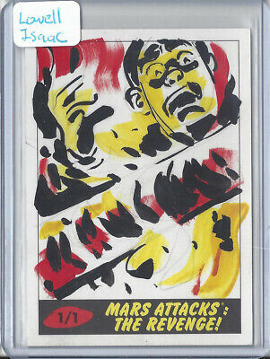 2017 Topps Mars Attacks The Revenge 1/1 Sketch Card by Lowell Isaac Burning Man