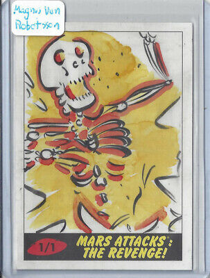 2017 Topps Mars Attacks The Revenge 1/1 Sketch Card by Magnus Von Robotsson