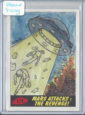 2017 Topps Mars Attacks The Revenge 1/1 Sketch Card by Shaow Siong - UFO