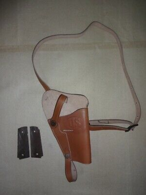 US WWII M3 Brown Leather Shoulder Holster w/1911 .45 Wood Grip - Reproductio je7