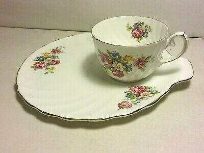 Gladstone  Old Grecian Flute ~ Floral Design  snack plate and cup