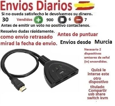 Cable Multipuerto Ladron Switch HDMI 3 puertos hub con cable macho Splitter hdtv