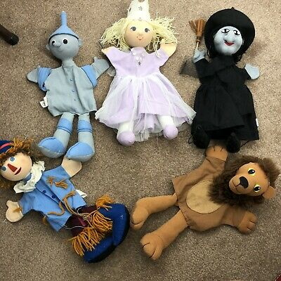 "Lot of (5) Wizard of Oz Fabric Hand Puppets 12"" MUBRNO Made in Czech Republic"
