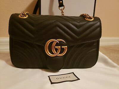 92a97ae1ca3 Authentic Gucci Marmont Small Shoulder Bag Black Quilted Leather Gorgeous