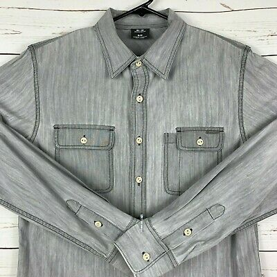 4957c39767 Oakley Mens Button Down Long Sleeve Small Denim Stretch Jean Shirt Roll Tab  Gray