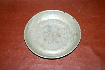 """RARE OLD Antique 18th Century Style 8"""" Pewter Plate Shallow Bowl w/ Deer Mark"""