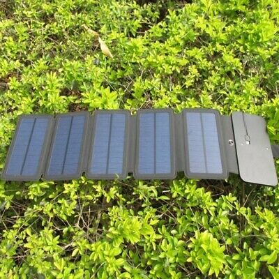 2019 Portable Solar Power Charger Foldable Waterproof USB Outdoor Backup Battery
