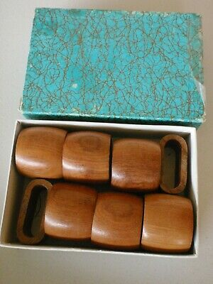 Vintage Retro Genuine Teak Napkin Serviette Holders Wood Wooden
