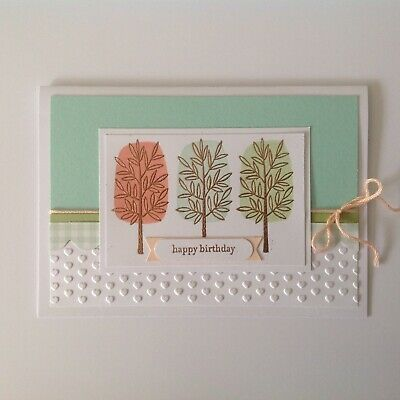 Handmade Birthday card: Park trees with mint & gold.