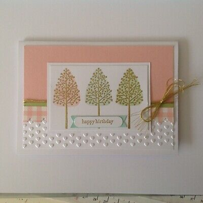 Handmade Birthday card: Park trees with pink.