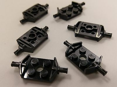 Bulk Lot Lego Part No.6157: Black Plate, Modified 2x2 with Wheels Holder, Qty x6