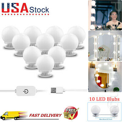 Make Up Mirror Lights 10 LED Kit Bulbs Vanity Light Dimmable Lamp Hollywood PE