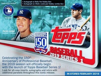 2019 Topps Series 1 Baseball Hobby Jumbo Sealed 6 Box Case + 12 Silver Packs