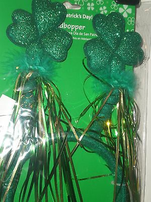 Headband Shamrocks on Stems Green Feathers Felt St Patrick Day Accessory Fun NIP