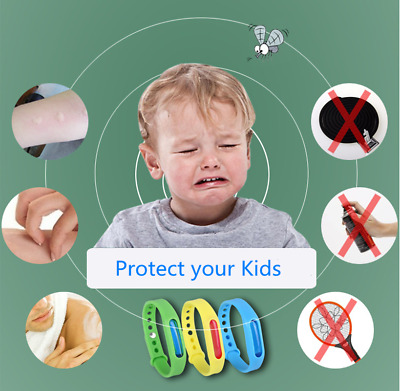 Lot Anti Mosquito Insect Repellent Pest Bug Wrist Band Bracelet Bangle Baby Kid