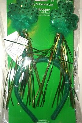 Headband with Shamrocks Green Sequins Feathers Felt St Patrick Day Accessory NIP