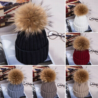 Women Winter Faux Fur Pom Pom Ball Knit Beanie Ski Cap Bobble Hats Warm