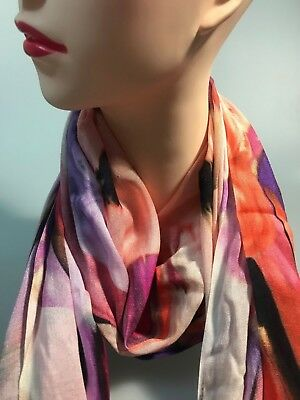 DAVID LAWRENCE PINK POOPY long modal scarf red-pink-multi colour new with tag