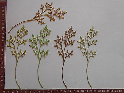 Die Cuts - Leafy branches x 5  green brown shades