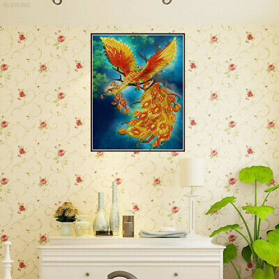 9D8C Beautiful Phoenix Painting 5D Rhinestone Picture Decompression Colorful