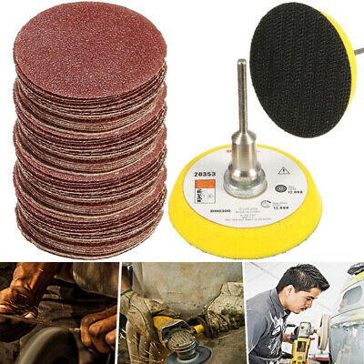 "Grit 60pcs 2'' 50mm Sandpaper Disc + 1/4"" Hook & Loop Sanding Sander Backing Pad"