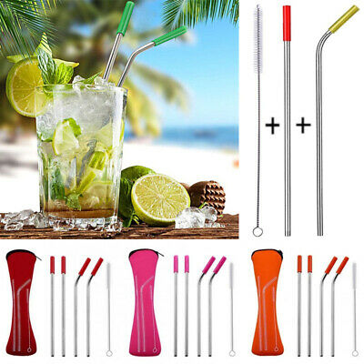 Metal Drinking Straw Stainless Steel Silicone Cover Cleaner Brush Pouch Bar