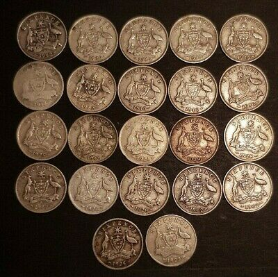 AU - 22x SILVER SIX PENCE COINS - Different dates