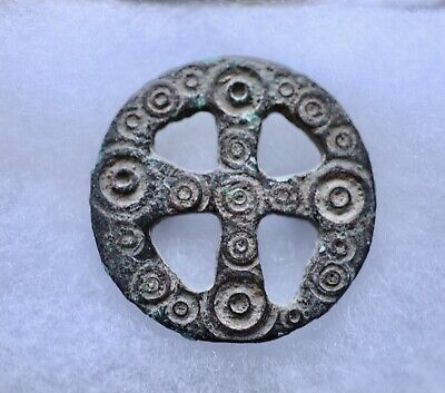 Byzantine bronze decorated buckle (6th-7th cent.),openwork with cross.Excellent!