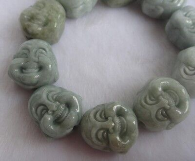 collectible china handwork green jade Carven buddha head chain bracelet