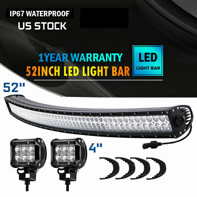 52inch 3000W Curved Cree Led Spot Flood Combo Dual Row Driving Light Bar 50''