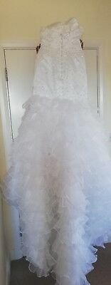 White Wedding dress with sequins and diamonte. Corset style button up dress