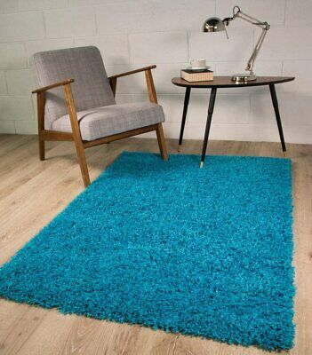 Luxury Teal Blue Dense  Thick Long Pile Shaggy Rug non-Shed Runner Floor Rug New
