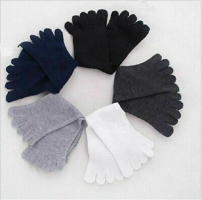 5 Pairs Men's Cotton Blend Soft  Five Fingers 5 Toe Socks Absorbent Stockings