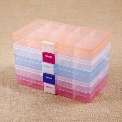5 Set Plastic Clear Jewelry Bead Organizer Box Storage Container Case Craft