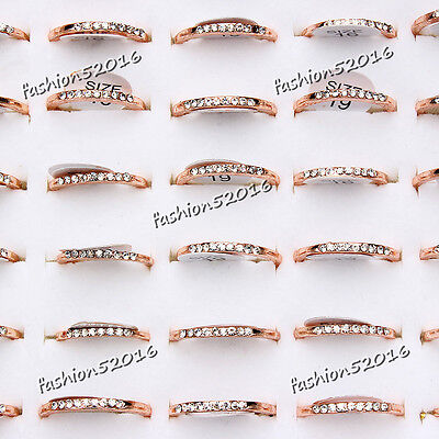 10Pcs Wholesale Lots Fashion Rhinestone Jewelry Crystal Gold Plate Rings FREE