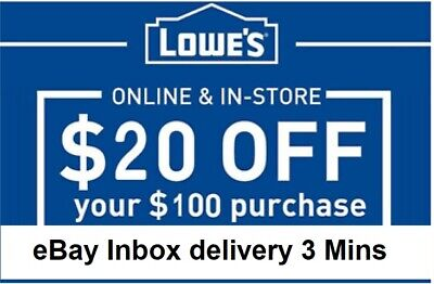 FIVE 5x Lowes $20 OFF $100Coupons-InStore and Online -Fast-Delivery------------