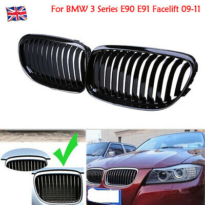 2X Gloss Black Front Kidney Grille Grill For BMW 3 Series E90 E91 Facelift 09-11