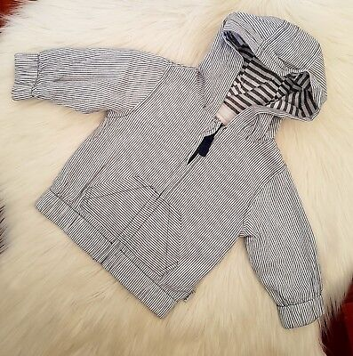 PUMPKIN PATCH - Size 3-6m (00) striped lightweight hooded jacket