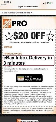 One~1x Home Depot $20 off $200 In-Store Only-1Coupon --SENT_-FAST-3Mins----