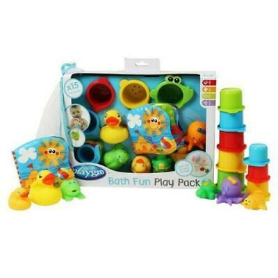 Playgro Bath Fun Play Gift Pack Toy Time Duck Water 15pce Storage Colour Net Cup