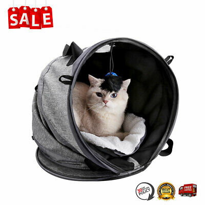 Pet Cat Carrier Cage Bed Collapsible Tunnel Comfort Travel Tote Bag W/ Toy Ball