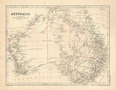 1868 map Australia by A. K. Johnston