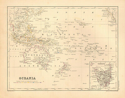 1868 map Oceania + inset Tamania by A. K. Johnston