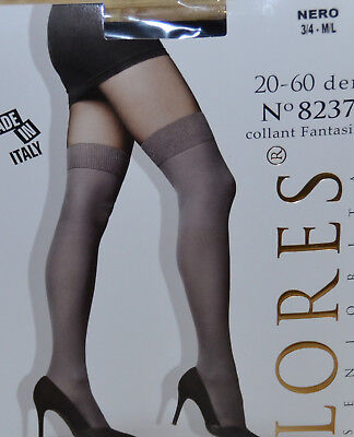 Femme Sexy Collant effet bas chaussette taille 3 4 noir lores ZAZA2CATS 98dd23bf8c7