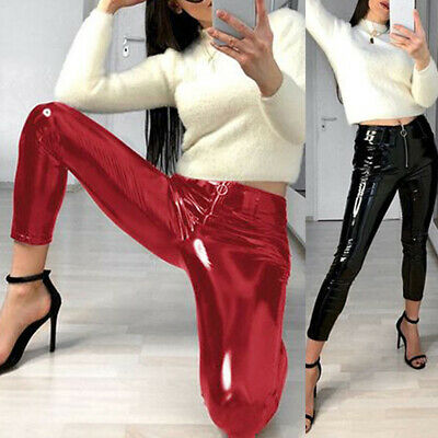 Dame Stretch Zip Glanz PVC Gothic Leggings Vinyl Wetlook Hose Trouser PU Leather