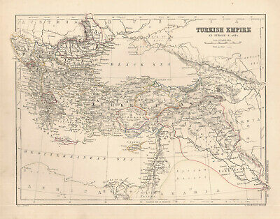 1868 map Turkish Empire in Europe & Asia by A. K. Johnston
